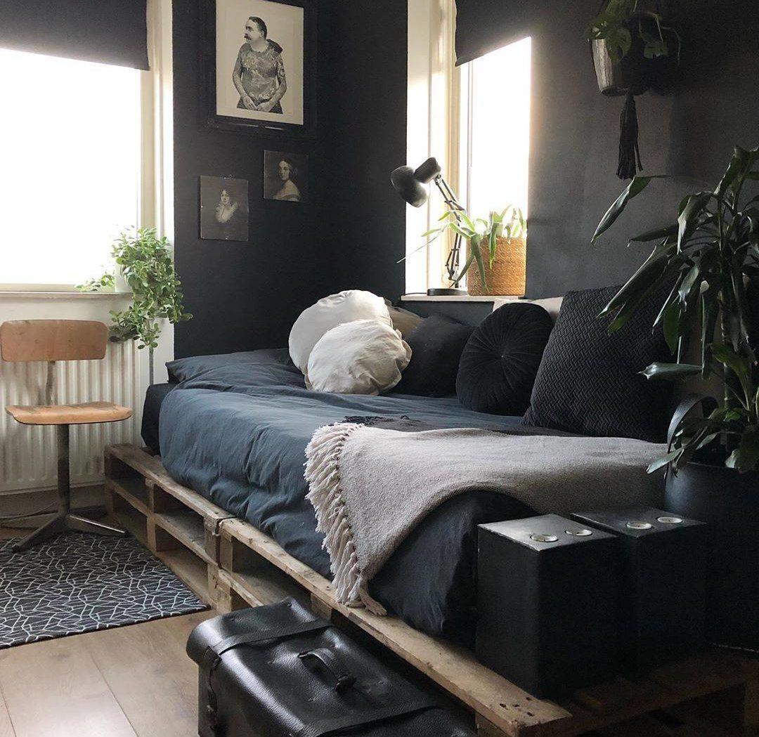 Dark Black Navy Bedroom Mens Pallet Bed Frame Natural Light