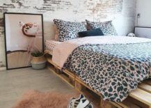 Modern Feminine Chic Leopard Print Bedding Neon Sign Pallet Bed Frame Fur Carpet
