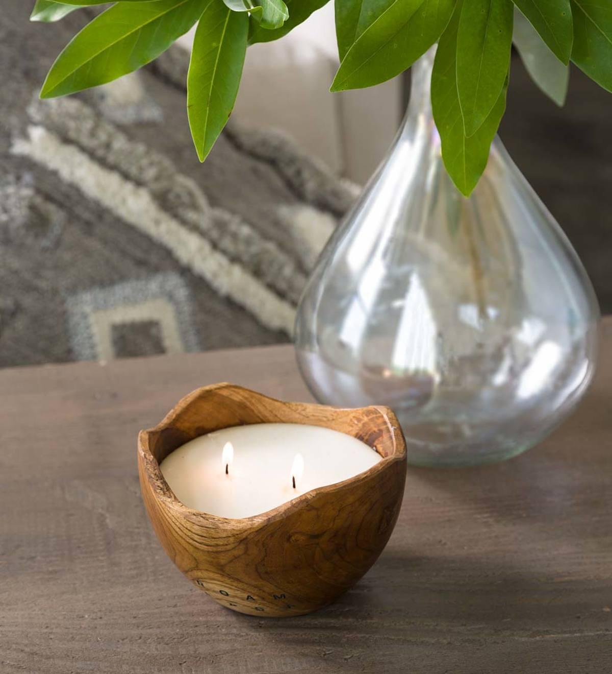 Candle Decorating Ideas Wood Bowl