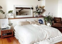 Modern White Wash Pallet Bed Frame Country Rustic Chic Bedroom White Foot Stool