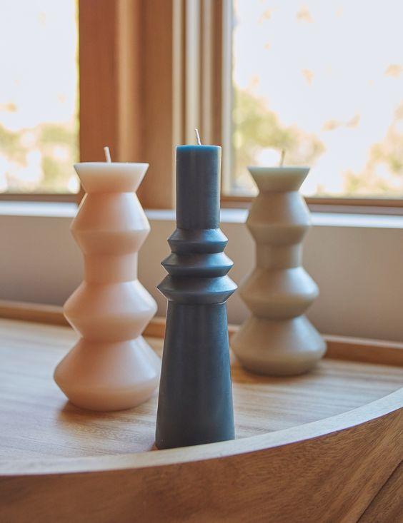 Modern Geo Pillar Candle Decorating Ideas