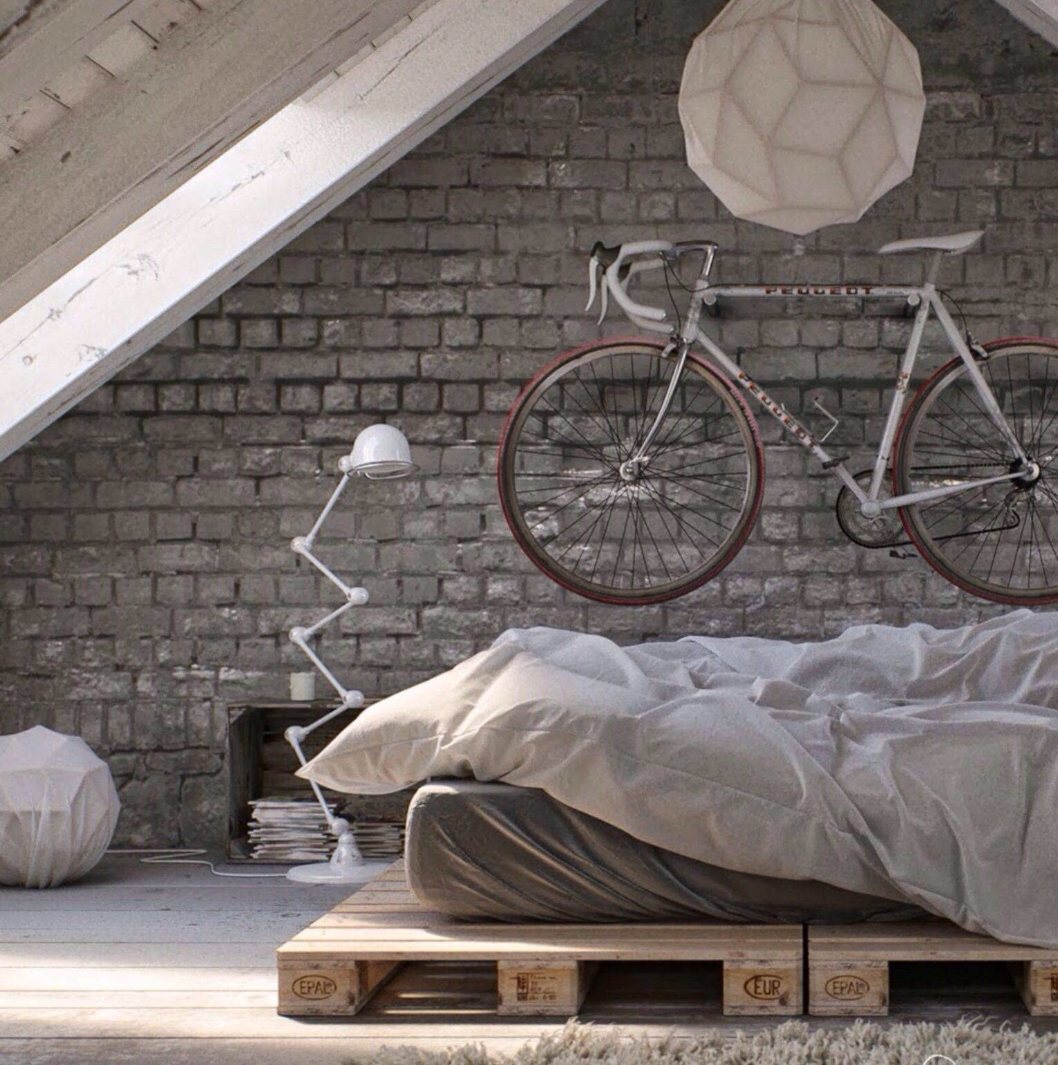 Modern Apartment Bike Storage Wood Pallet Bed Frame Natural Exposed Brick Lantern Light
