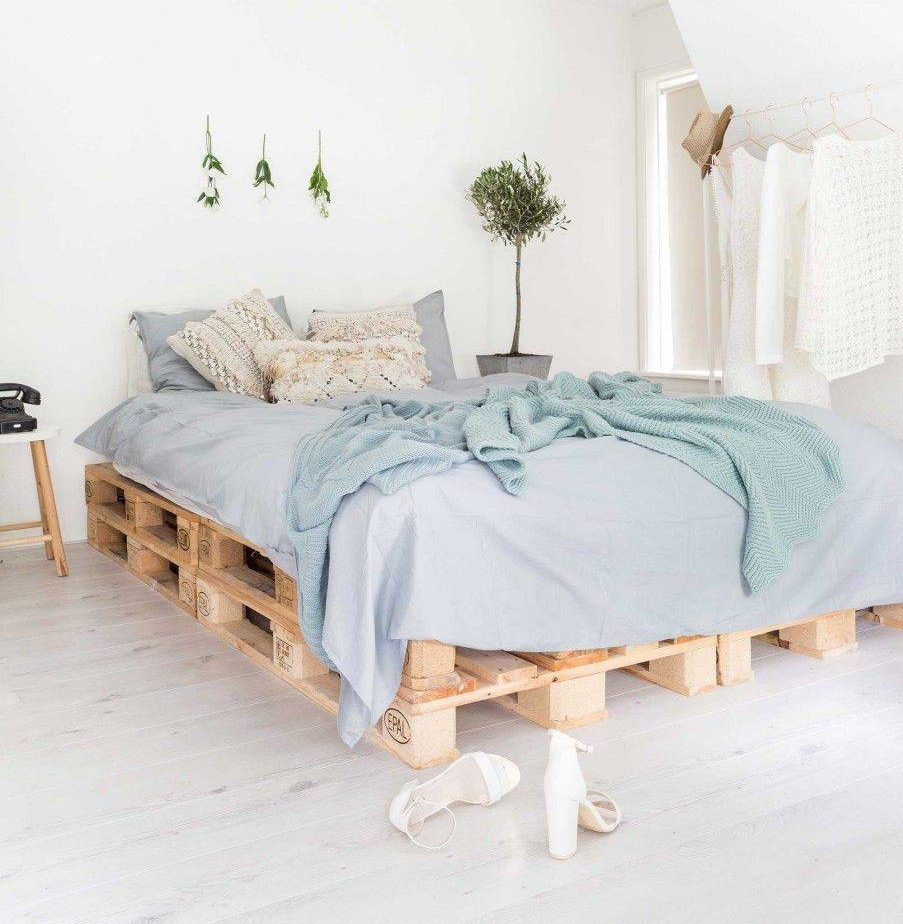 Blue Coastal Chic Bedding Modern Feminine Pallet Bed Frame Wood Decor