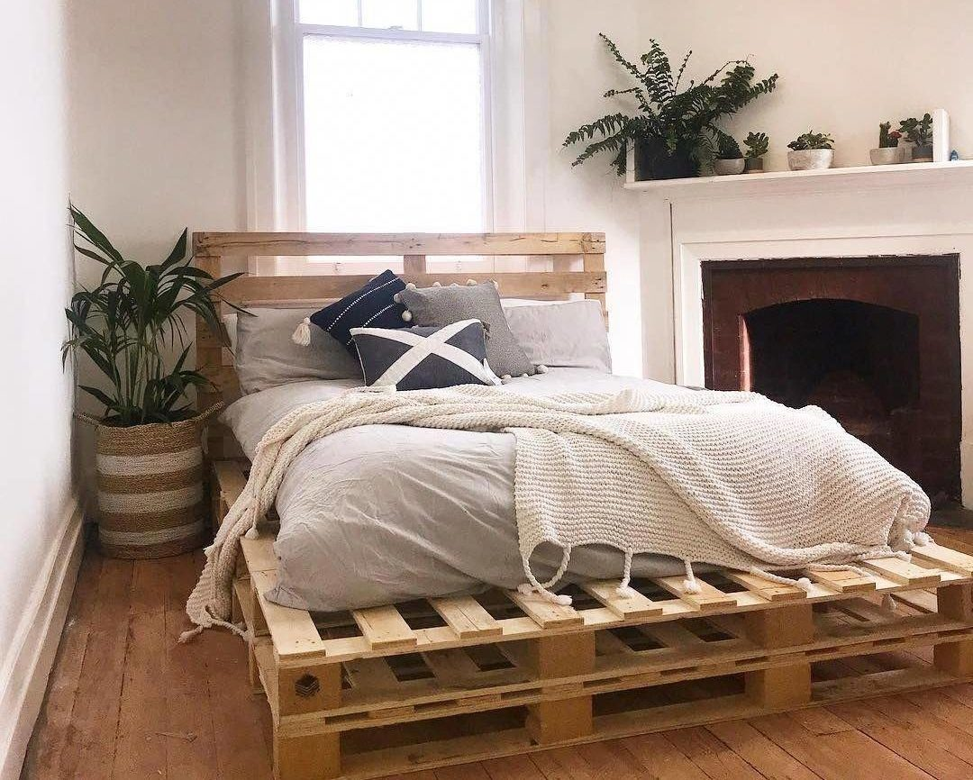 Pallet Bed Rustic Modern Minimalist Decor Plant Throw Pillows