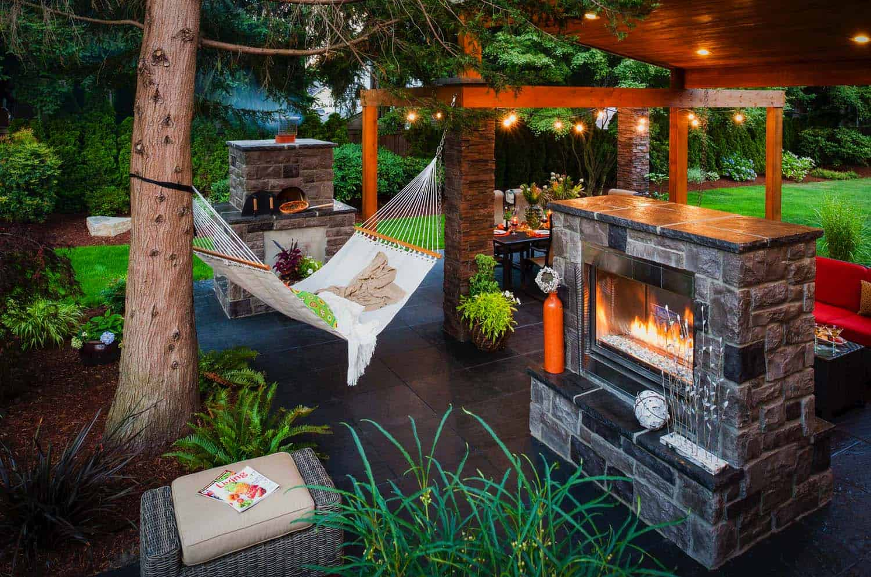 Modern Luxury Patio Fire Pit and Hammock Lounge Seat