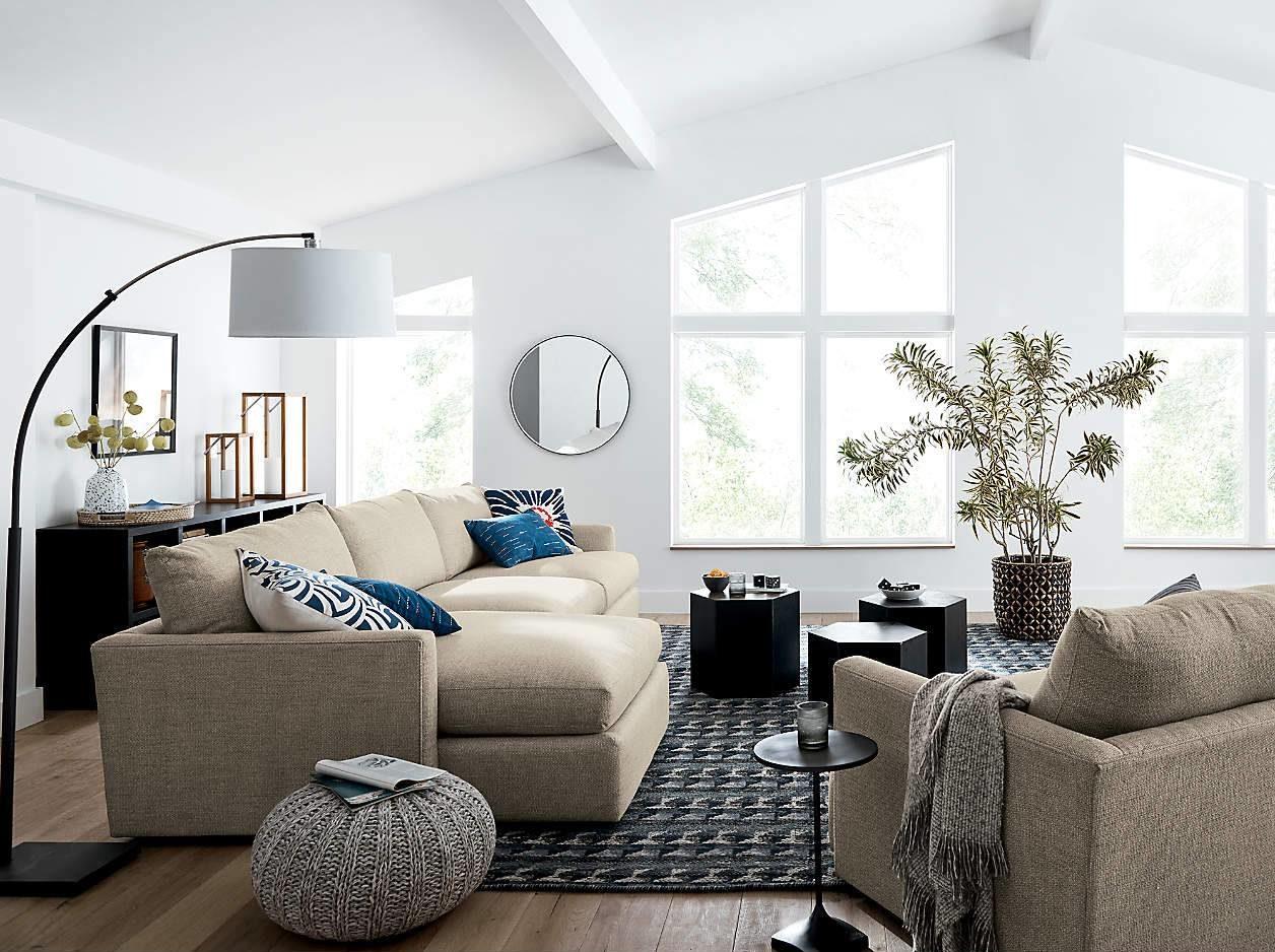 Modern Living Room Floor Pouf Ottoman Cushion Grey Knit