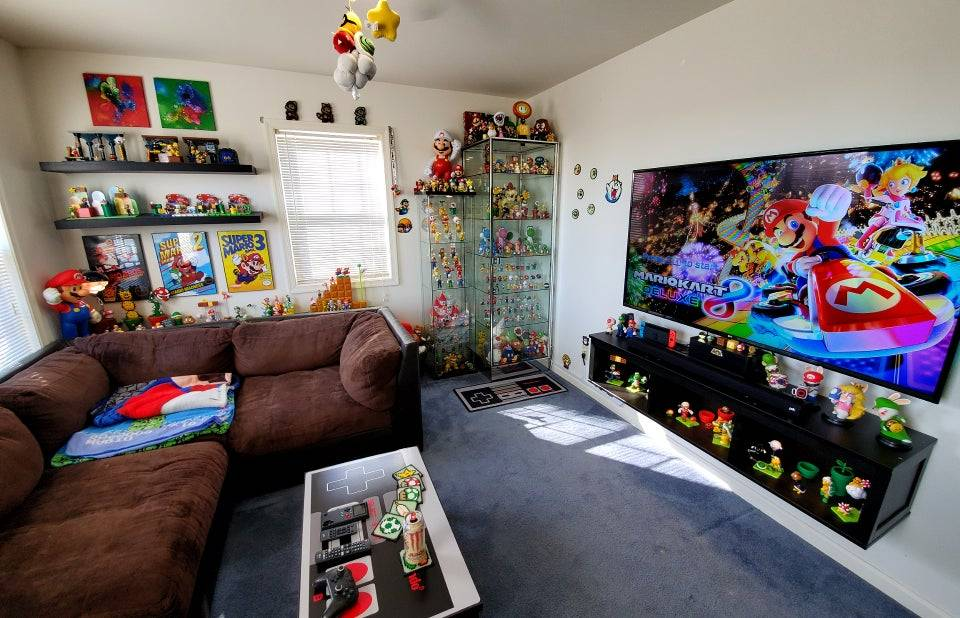 mario bros themed video game room