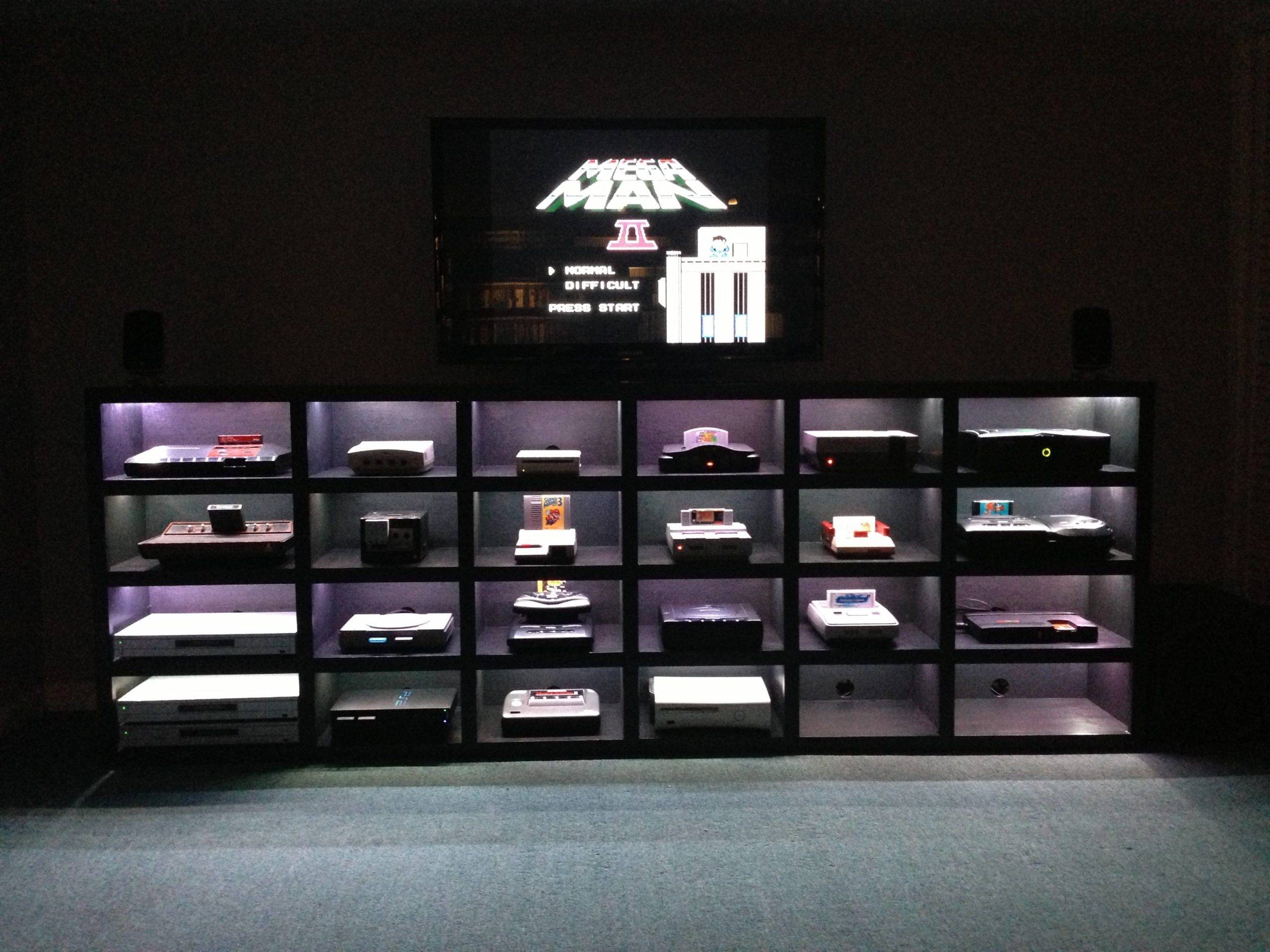 rows of video game consoles on display