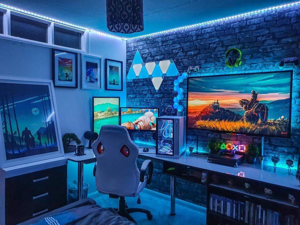 blue led lighting and accessories in video game room