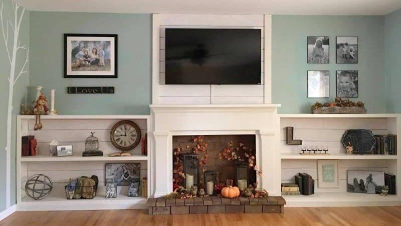 shiplap and brick faux fireplace setting
