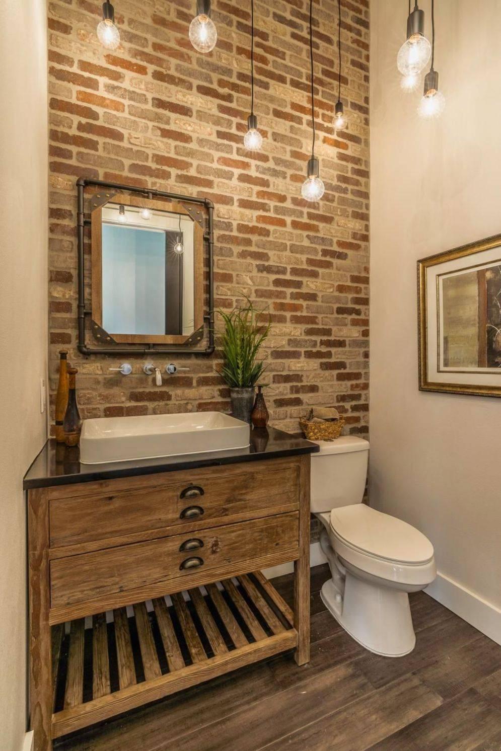 Bathroom Vanity on Brick Accent Wall