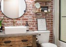 Bathroom Vanity with Brick Accent Wall