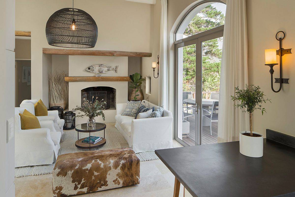 Beach style living room in beige is not one that you come across everyday