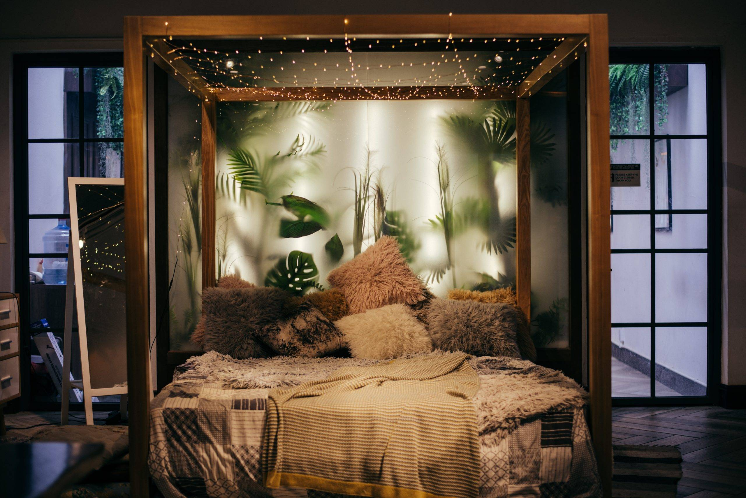 Bed frame with dangling mini lights