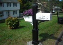 Black and White Mailbox Post with Planter Box