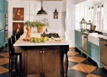 Black and brown tiles on kitchen floor
