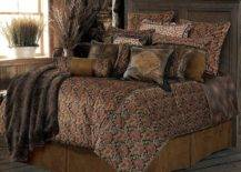 Brown bed with leather cushions in brown hues and patterns