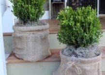 Burlap Basket Planter