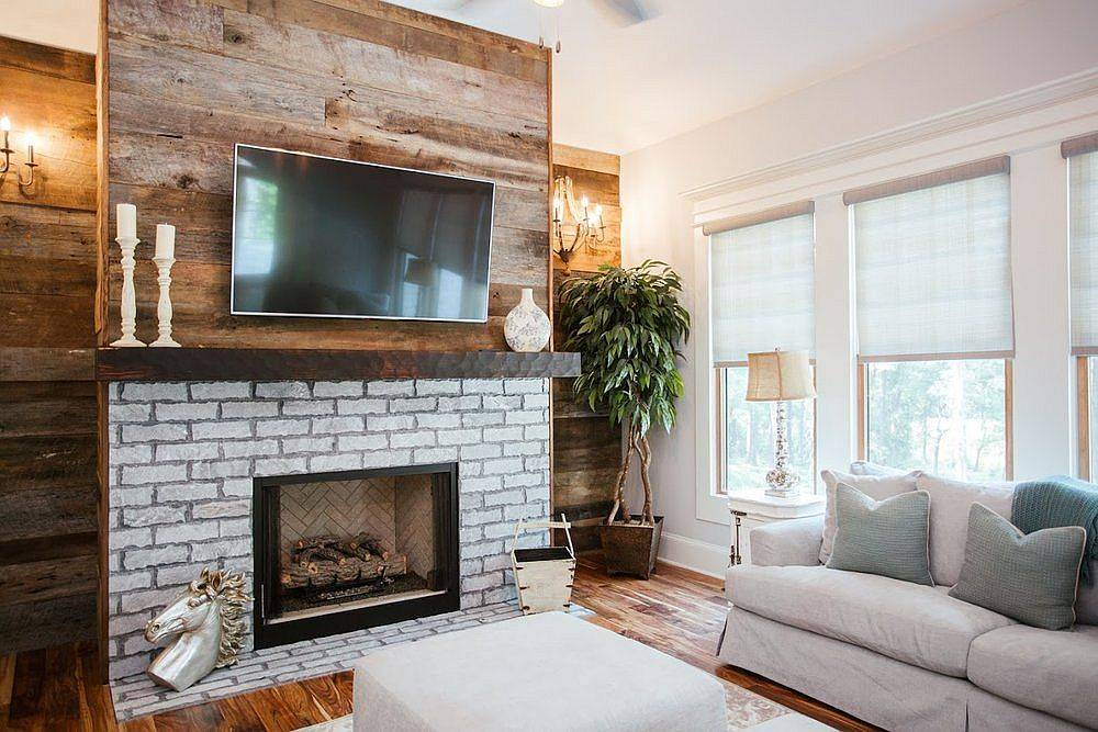 Combining wood with brick to create a gorgeous fireplace in the living room