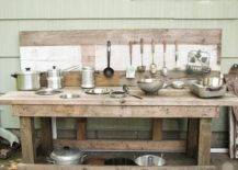 Cookwares on makeshift wood counter