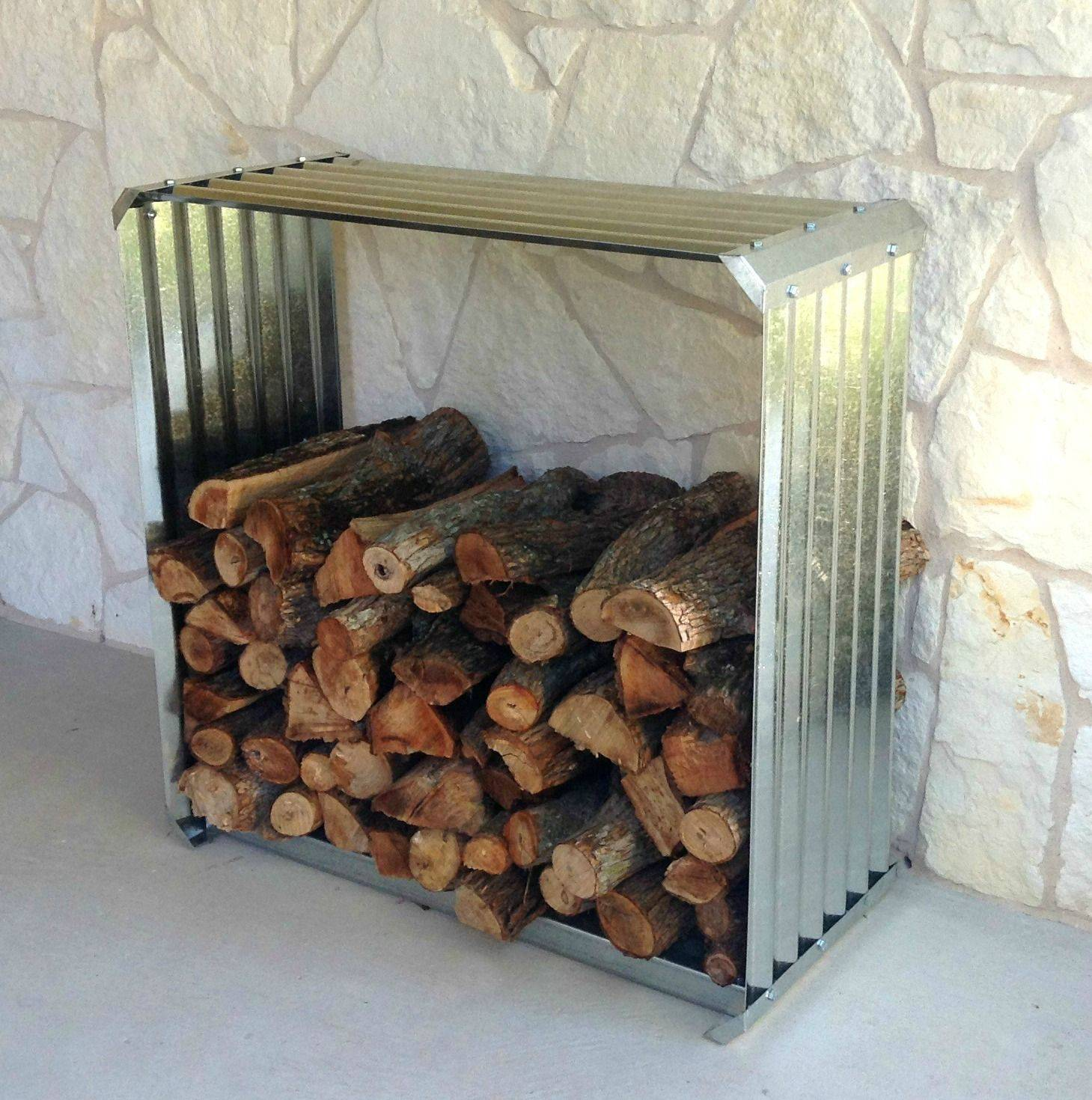Corrugated Metal Firewood Rack