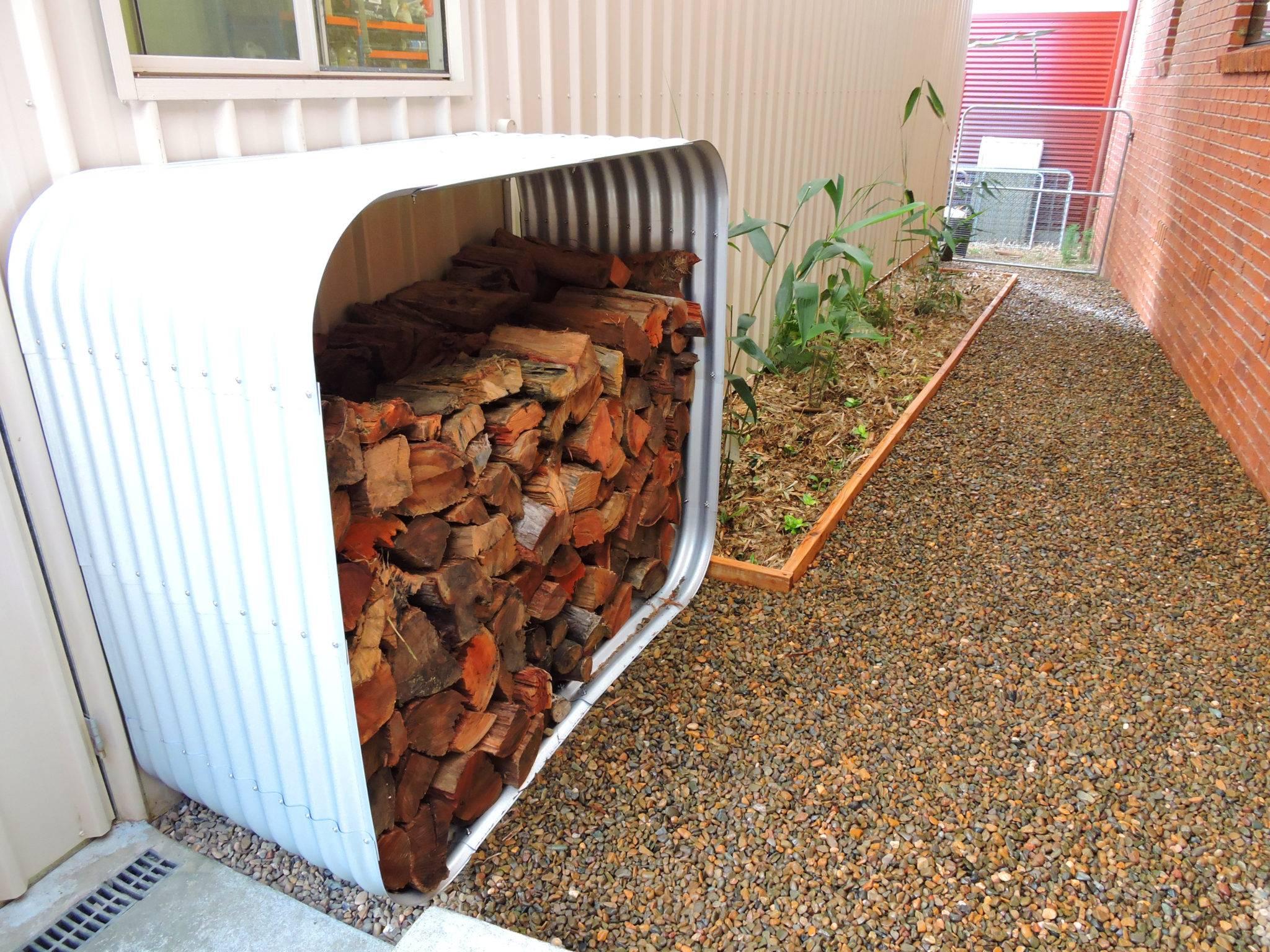 Corugated metal firewood rack