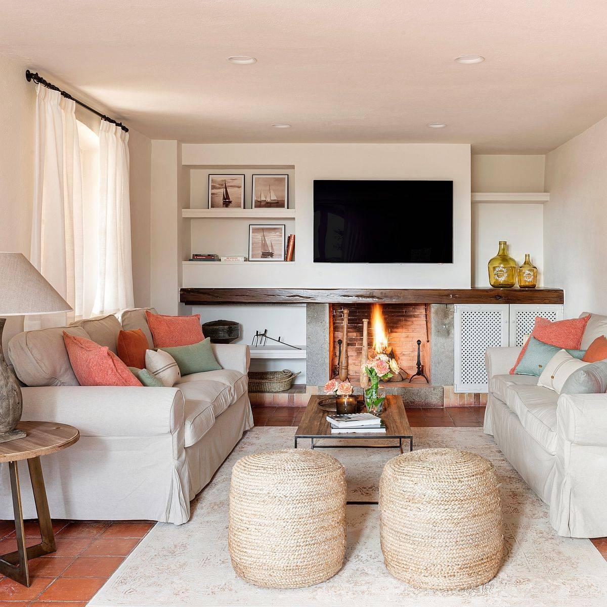 Cozy and elegant modern Mediterranean living room in beige