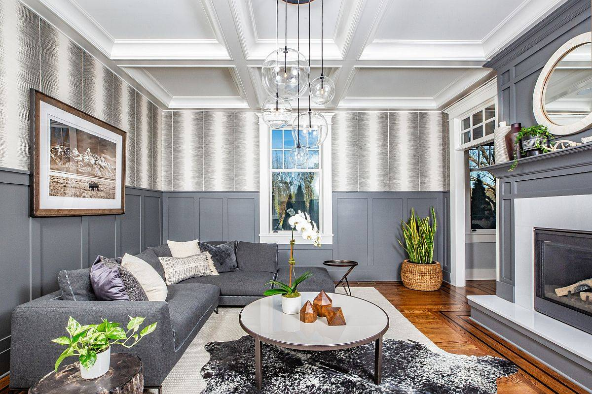 Delightful balance of white and gray in the modern living room