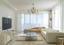 Elegant living room with chandelier
