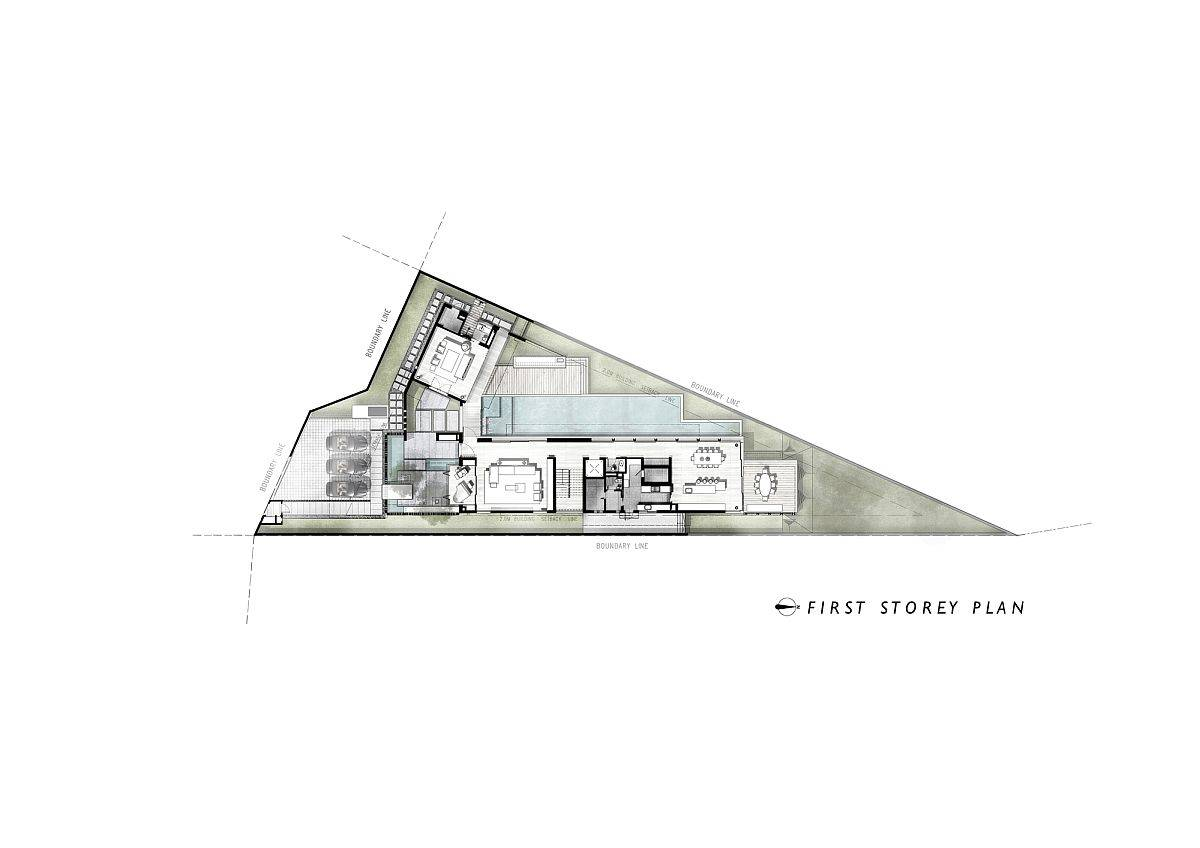 First level design floor plan of House 24 in Singapore by Park + Associates