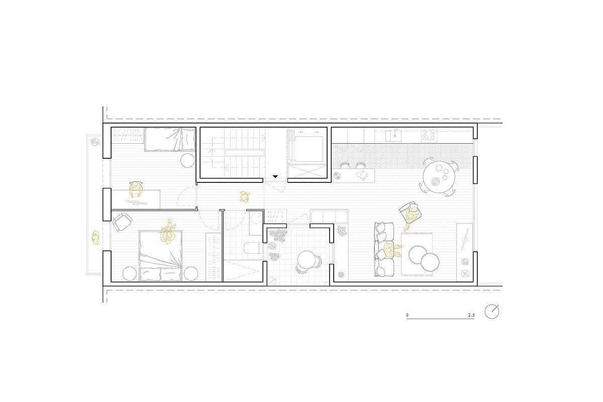 Floor plan of NDT.304 Apartment renovated by MZAM in Barcelona