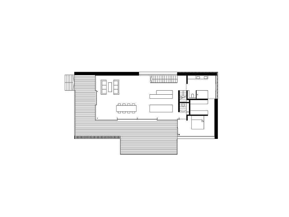 Floor plan of modern House R in Germany