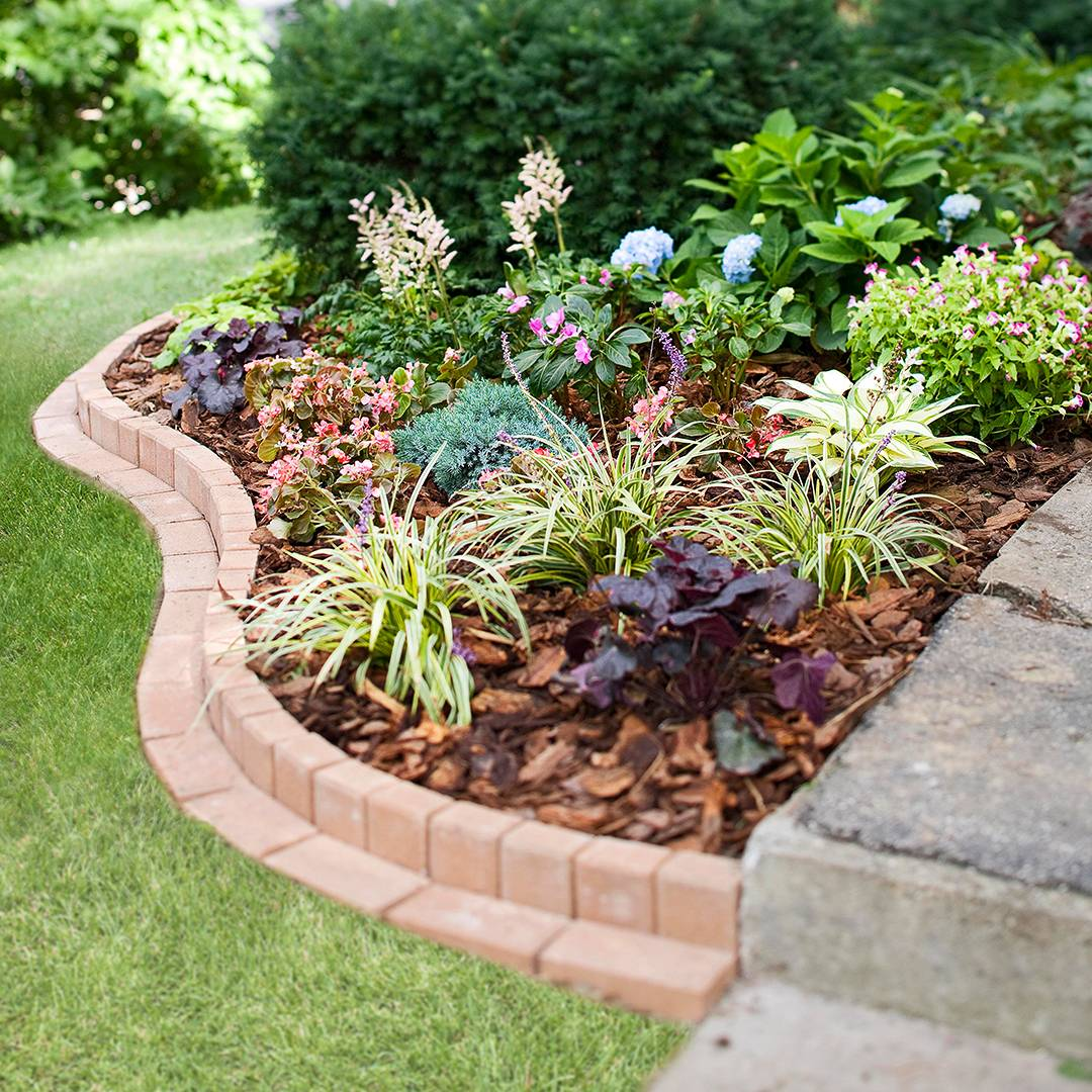 Flower Bed with Brick Edging