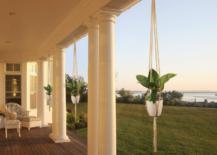 Hanging planters in between columns