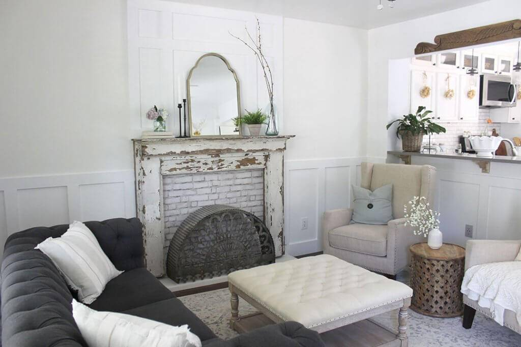 brick faux fireplace mantel in rustic living room