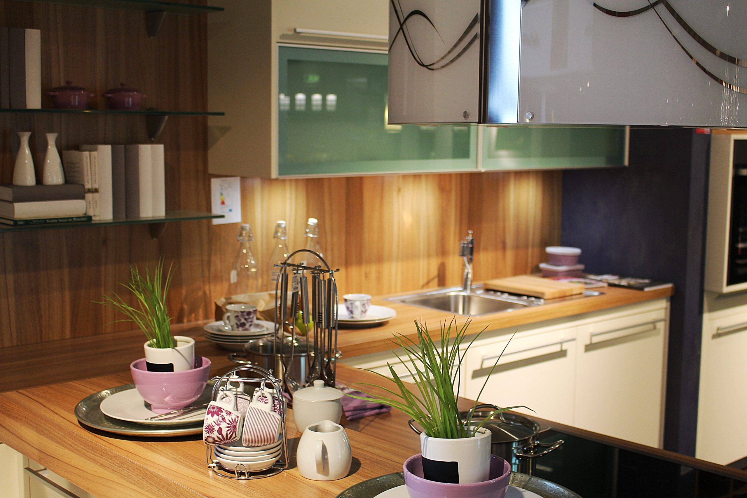 KItchenware on counter with two potted plants