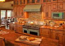 Kitchen interior in brown hues