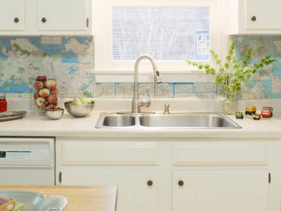 Kitchen with map backsplash