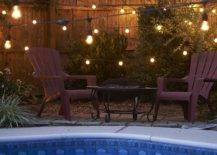 Light bulbs Along and Over Pool