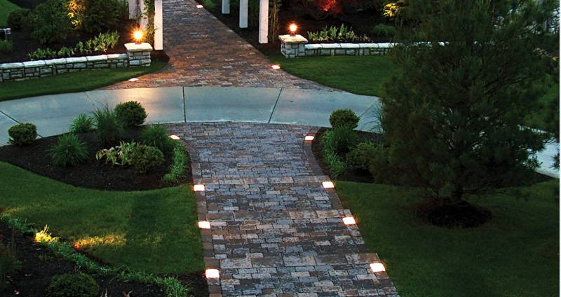 Lights Along Pathway Brick Edging