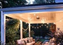 Lights illuminating porch