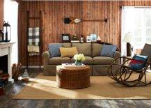 Living room interior in different brown shade fixtures