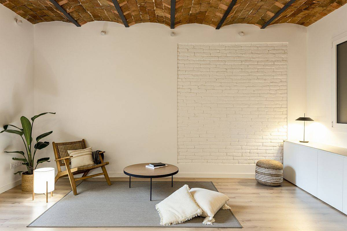 Living room of the renovated home in Barcelona originally built in 1936