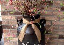 Milk Can Planter with Inscription