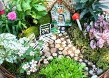Mini garden in a basket