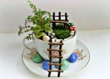 Mini garden in white floral teacup