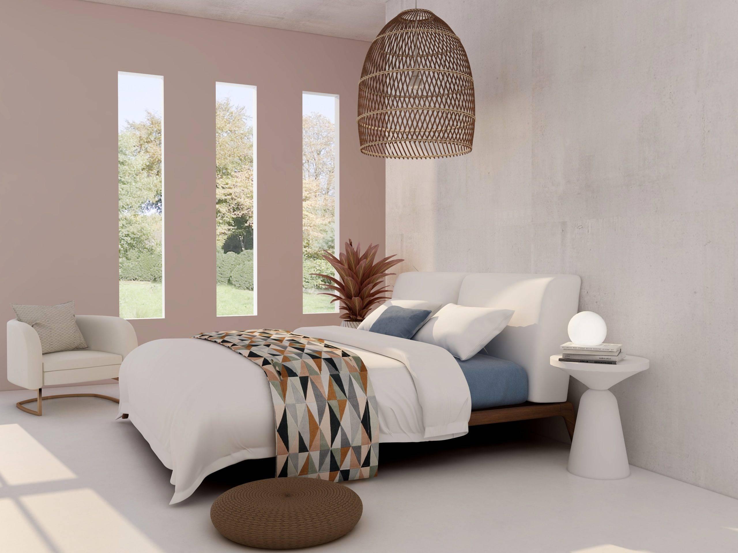 Minimalist bedroom with three vertical square windows