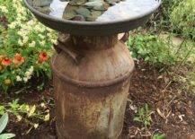 Old milk jug birdbath