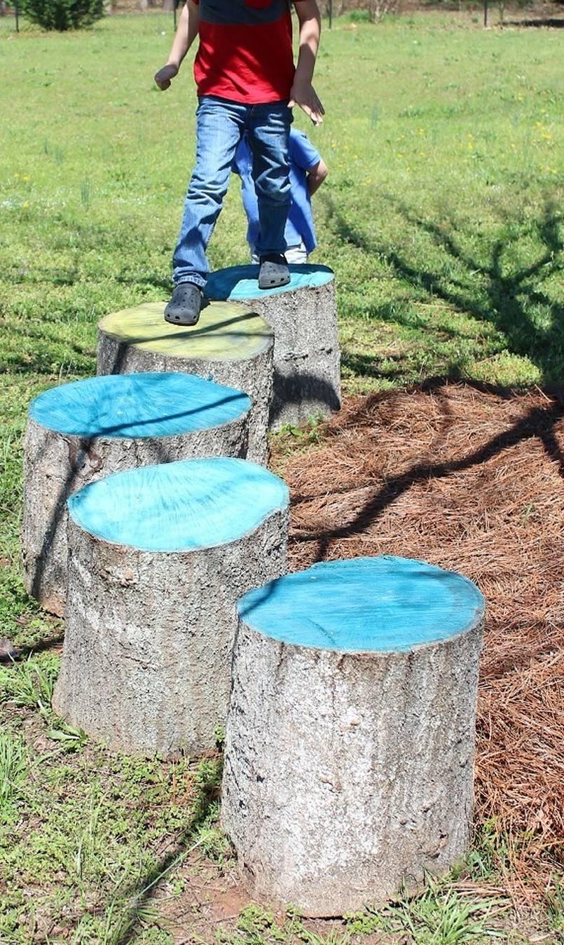 Painted tree stumps