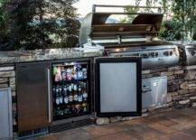 Patio Kitchen with Mini Fridge and Grill